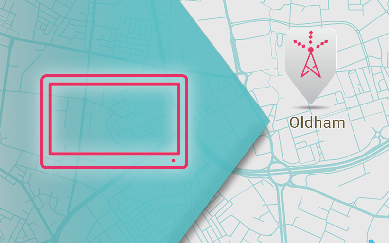 A map of Oldham - Aerial Installation and Repairs